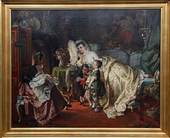 Немецкая картина Кормилица 19 века авторства Карла Херпфера