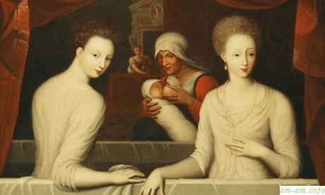 Английская картина 16-го века с кормилицей на заднем плане