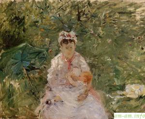 Кормилица Анжел кормит грудью Джули Мане, Берт Морисот, 1879