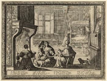 Женщины у камина, ребенок с кормилицей. Графика Абрахама Боссе, 1633