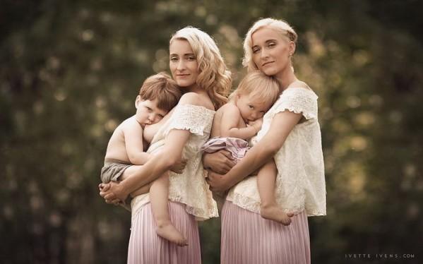 мамы-близнецы кормят грудью своих детей